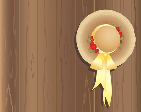 wooden hat: an illustration of a summer straw hat with a yellow silk ribbon and poppy decoration hung on a wooden fence Illustration