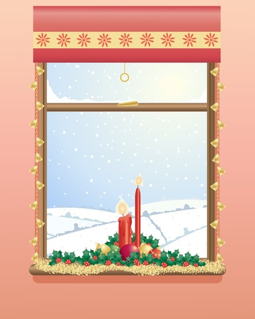 an illustration of a decorated christmas window with candles holly and a snowy landscape Vector