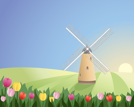 an illustration of a windmill with white sails in a peaceful landscape with colorful tulips under a blue sky Stock Vector - 11563015