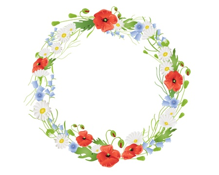 poppy leaf: an illustration of a circular wreath of summer wildflowers with poppies harebells and daisies on white