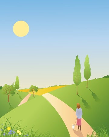hedgerows: an illustration of a springtime landscape with trees and hills and a woman walking a small dog under a blue sky