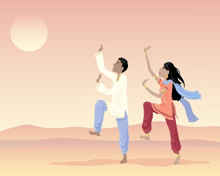 salwar: an illustration of an asian man and woman in traditional clothing dancing under an exotic sunset sky Illustration