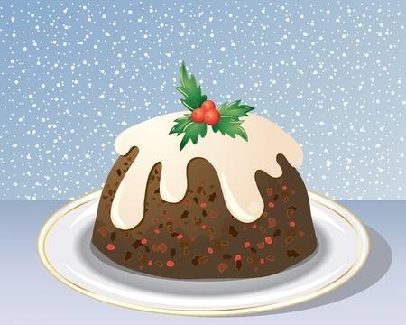 christmas pudding: an illustration of a christmas pudding decorated with holly berries leaves and cream on a gold rimmed plate with snowy background