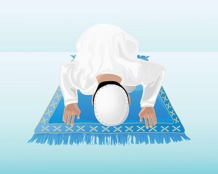 Een illustratie van een moslim man, die bidt op een versierde blauwe mat met een blauw groene achtergrond Vector Illustratie