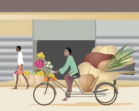 an illustration of an asian man riding on a cycle rickshaw through a town with a heavy load