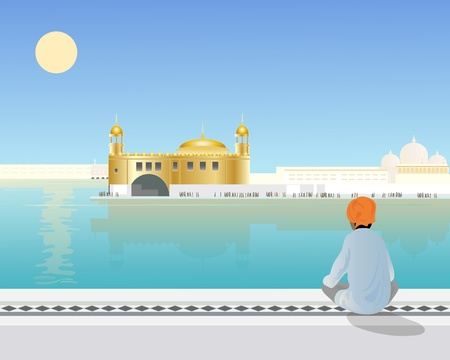 amritsar: an illustration of a sikh boy sitting looking across the holy pool to the golden temple at amritsar