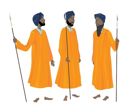 an illustration of three sikh men in the traditional uniform of the guards of the golden temple at amritsar Vector