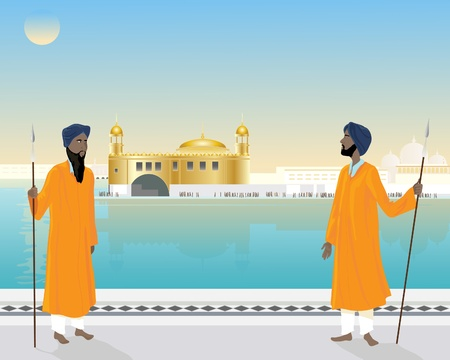 an illustration of a two temple guards standing by the holy pool of the golden temple under a blue sky Stock Vector - 11810661