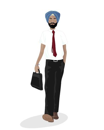 india people: an illustration of a sikh businessman going to work with blue turban white shirt and a briefcase on a white background