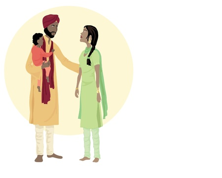 sikhism: an illustration of a sikh family including a man woman and small child in traditional dress  Illustration