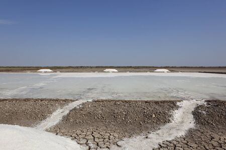 gujarat: salt production in the dry arid landscape of gujarat state india