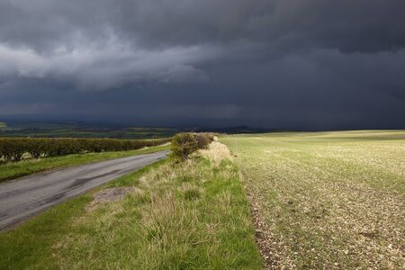 yorkshire wolds landscape with arable fields and hedgerows under a stormy sky in springtime Stock Photo - 13296773