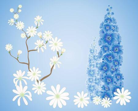 watery: l'illustrazione di un ramo di magnolia con fiori bianchi e due punte delphinium su sfondo blu acquoso Vettoriali
