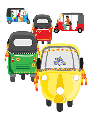 auto rickshaw: an illustration of colorful asian auto rickshaw traffic on a white background Stock Photo
