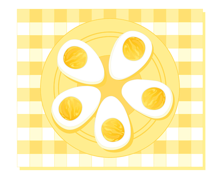 boiled eggs: an illustration of a plate of hard boiled eggs cut in half on a fancy plate with yellow gingham background Stock Photo