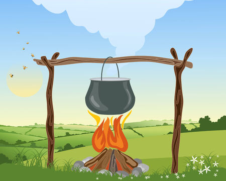 hedgerows: an illustration of a camp fire with pot on a wooden frame boiling in a landscape with patchwork fields and blue sky