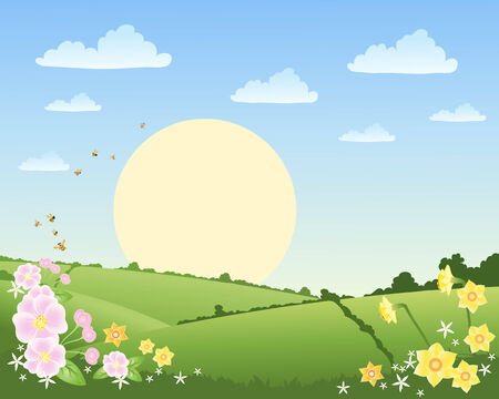 hedgerows: an illustration of a rural landscape in spring time with daffodils bees and patchwork fields under a blue sky with a big sun and fluffy clouds