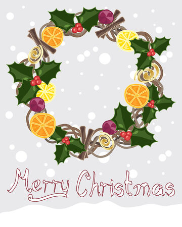 cinnamon sticks: an illustration of a rustic christmas wreath with holly berries figs slices of dried fruit and cinnamon sticks in a decorative circle on a snowy background