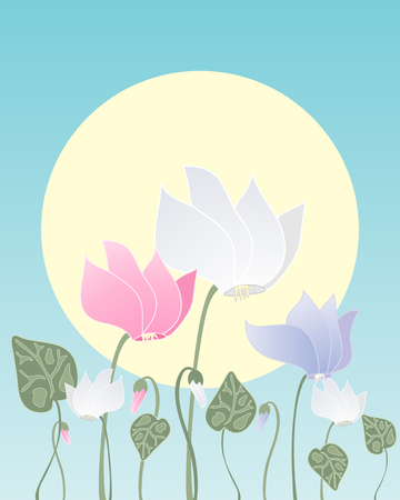 cyclamen: an illustration of cyclamen flowers with buds and foliage in white pink and purple on a blue background with a big yellow sun