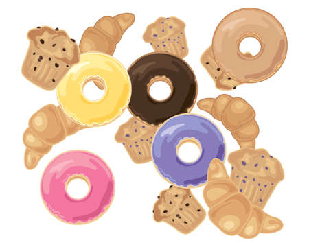 chocolate chip: an illustration of delicious breakfast pastries including croissants blueberry and chocolate chip muffins and iced doughnuts on a white background