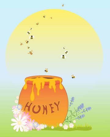 golden daisy: an illustration of an abstract honey pot with flowers bees and a big yellow sun on a blue sky background