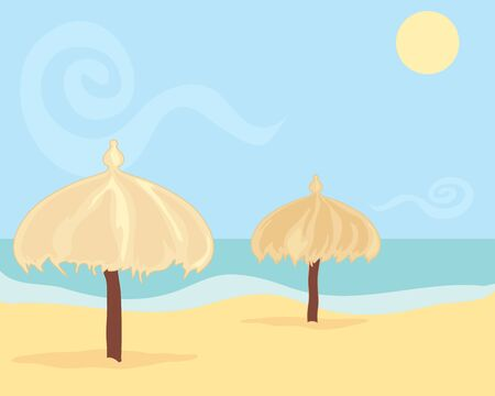 an illustration of two straw beach umbrellas on a hot sandy beach with blue sky and yellow sun Stock Photo