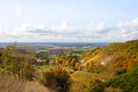 hillsides: the vale of york in autumn from yorkshire wolds hillsides on a sunny day