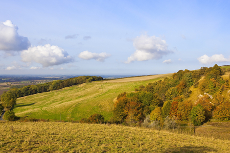 vale: grassy meadows on a yorkshire wolds hillside with a view of the vale of york under a blue cloudy sky in autumn