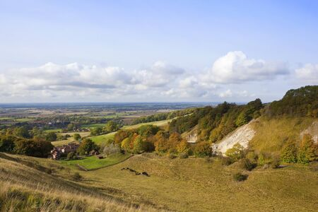 vale: the scenic vale of york in autumn on a sunny day with a colorful wooded valley under a blue sky