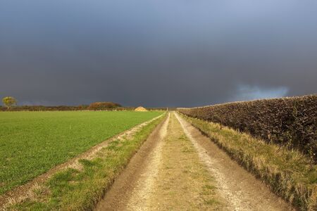 dark rain clouds with a limestone bridleway and hawthorn hedgerow in a yorkshire wolds landscape with colorful autumn foliage Stock Photo