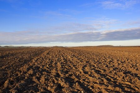 newly turned plow soil with lines patterns and texture in a yorkshire wolds landscape under a blue sky with soft cloud in autumn