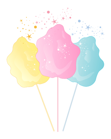 spun sugar: an illustration of cotton candy confectionery in pink yellow and blue with sparkles on a white background