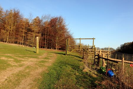 rearing: gates and fences of game rearing enclosures in the English landscape in winter time Stock Photo