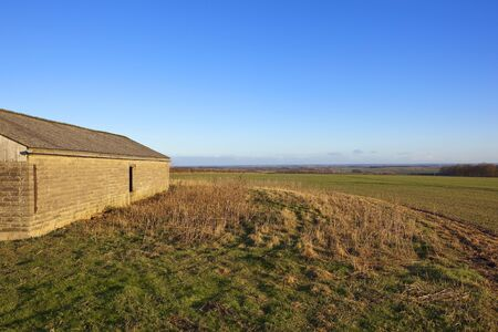 a stone farm building near dry grasses crops and a view of the vale of york in th yorkshire wolds under a clear blue sky in winter