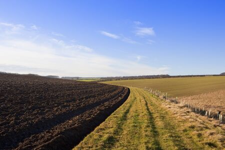 a plowed hillside field in scenic yorkshire wolds landscape with hills and hedgerows under a blue sky in winter Stock Photo