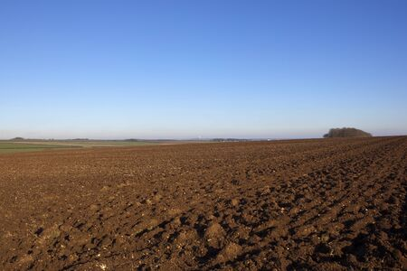 newly plowed soil in a hilltop field with a woodland copse and a view of the vale of york in a yorkshire wolds landscape under a blue sky in winter Stock Photo