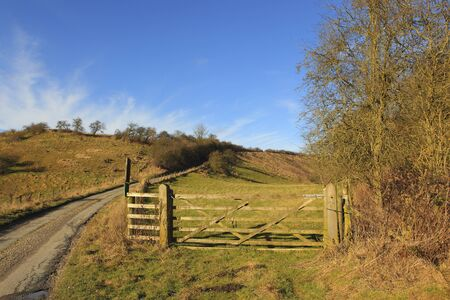 wispy: rustic wooden gates with a green meadow and a small country road in a winter yorkshire wolds landscape under a blue sky with white wispy cloud