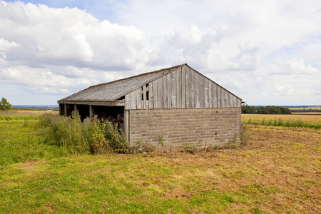and old farm building used for storage overlooking the vale of york under a blue summer sky in the yorkshire wolds