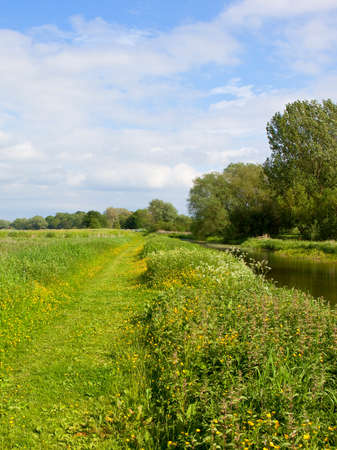 a rural towpath by a canal with wildflowers and woodland under a blue cloudy sky in springtime yorkshire