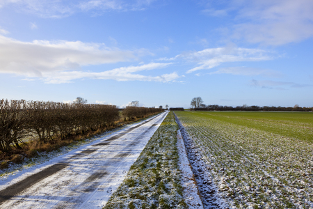 a straight snowy farm road with a hawthorn hedgerow beside a winter wheat field under a blue cloudy sky in the yorkshire wolds