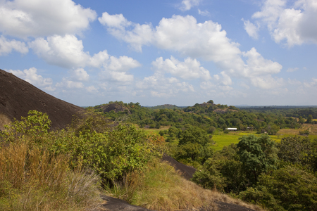 sri lankan volcanic rock in beautiful rural scenery at wasgamuwa national park under a blue sky with white fluffy clouds