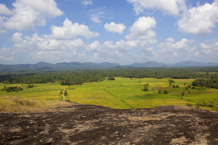 sri lankan scenic landscape viewed from a volcanic rock formation in wasgamuwa national park with woodland and mountain range under a blue sky with fluffy white clouds Reklamní fotografie