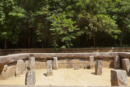 archaeological remains at ritigala forest monastry in sri lanka with mature trees