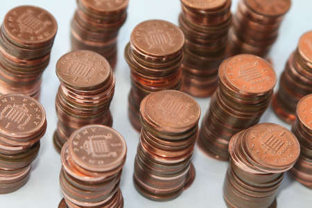 pennies: Columns of British pennies