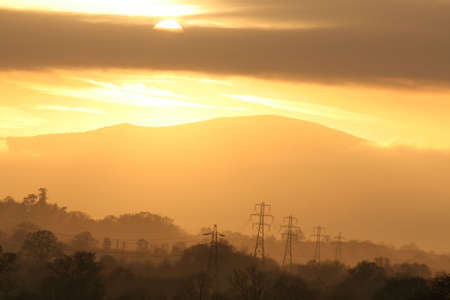 worcestershire: Winter Sunset Over The Malvern Hills, Worcestershire, England