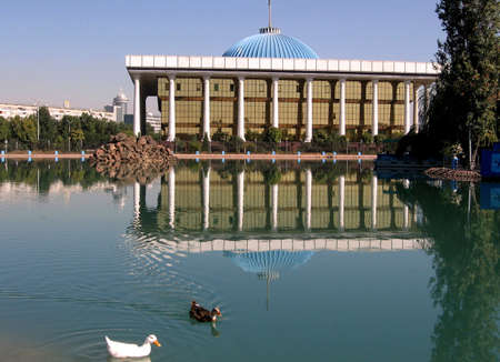Majlis and pond in the city of Tashkent, the capital of Uzbekistan