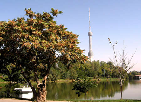 Tower and pond of park Yunusabad in Tashkent, the capital of Republic Uzbekistan