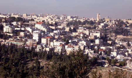 Panorama of Abu Tor from Haas Promenade in Jerusalem,Israel