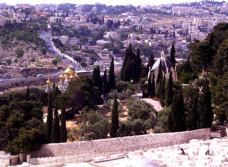 View the Russian orthodox Church St. Maria Magdalena in Jerusalem, Israel photo