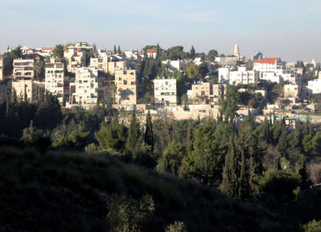 Panorama of Givat HaNanya from Haas Promenade in Jerusalem,Israel photo